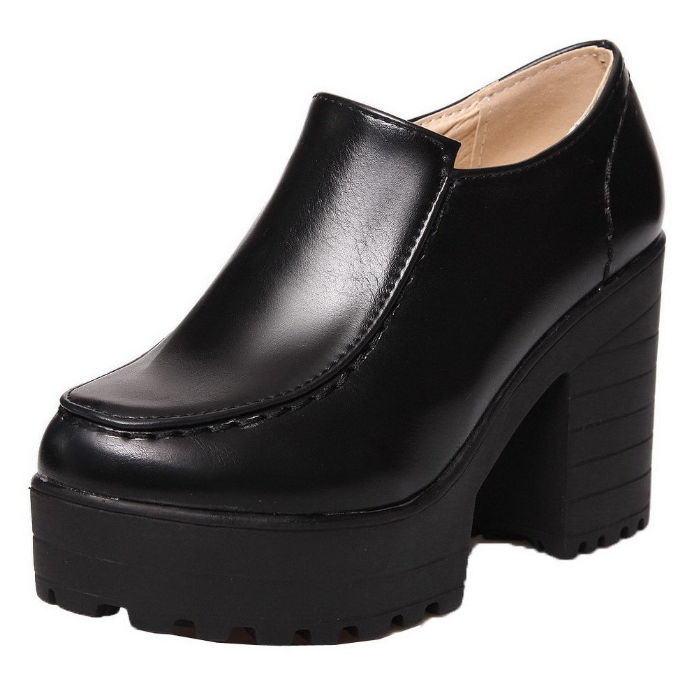 WeenFashion Women's High-Heels Round Closed Toe PU Solid Zipper Pumps-Shoes, Black, 34