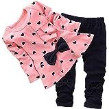 Baby Girls' Bowknot 2pcs Set Children Clothes Suit Top and Pants(FBA)