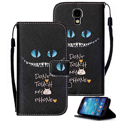 Galaxy S4 Case, S4 Case, Galaxy S4 Wallet Case, Etubby [Wallet Stand] PU Leather Wallet Flip Protective Case with Card Slots and Wrist Strap for Samsung Galaxy S4 i9500 (2013) - Cheshire Cat