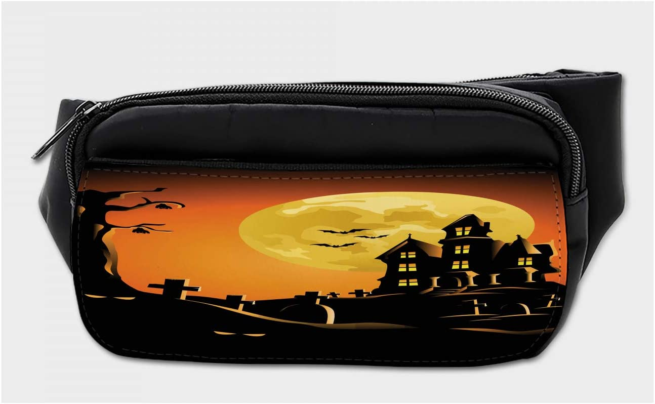 Travel Waist Pack,travel Pocket With Adjustable Belt For Halloween Moon And Bats Running Lumbar Pack For Travel Outdoor Sports Walking