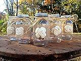 mason jar centerpiece - Rustic Mason Jars with Sola Flower - Rustic Wedding Decor - Wedding Mason Jars - Mason Jar Centerpieces - Ball Mason Jars