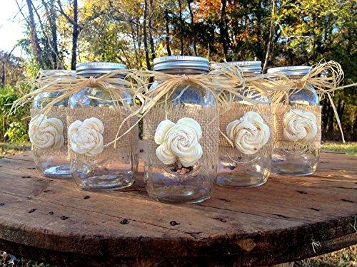 Rustic Mason Jars with Sola Flower  Rustic Wedding Decor  Wedding Mason Jars  Mason Jar Centerpieces  Ball Mason Jars