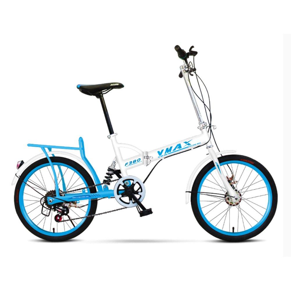 大人 折りたたみ自転車, 折りたたみ自転車 男性と女性 超軽量 子供たち 学生 6 速 折り畳み自転車 B07D1258YN青 20inch