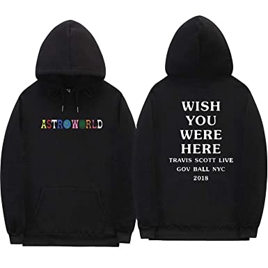 a9dc2bd509e4 Men Women Travis Scott Astroworld Wish You were HERE Hoodies Letter Print  Streetwear Sweatshirt,Black