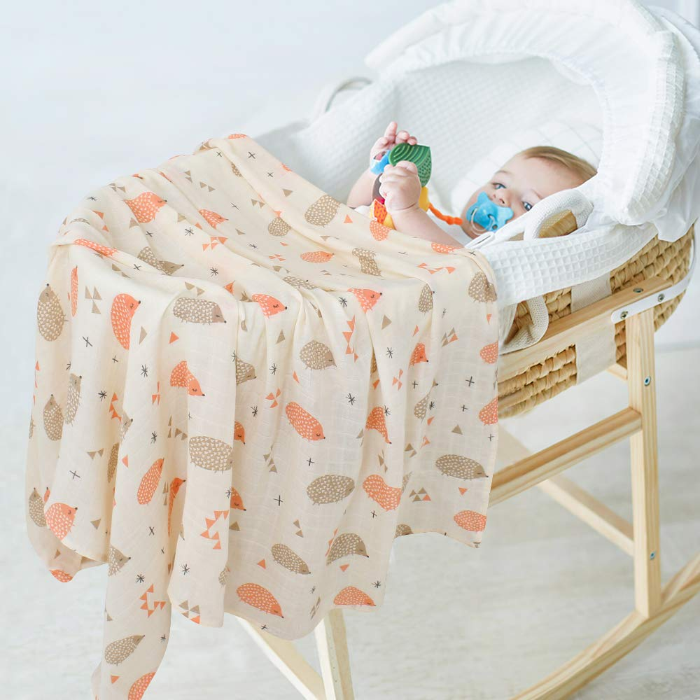 LifeTree Baby Blankets Muslin Cloths Panda Print Bamboo Cotton Blanket for Boys /& Girls 47x47 Soft Large Muslin Swaddle Wrap