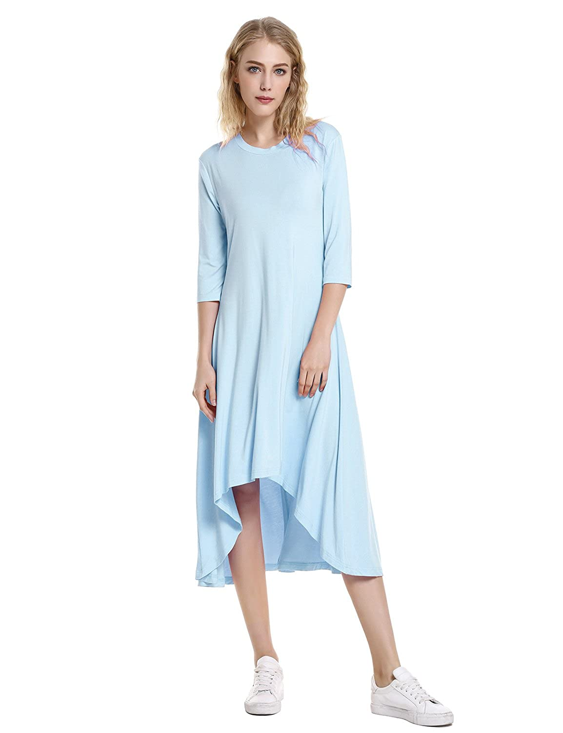 a4139c6ba06 STYLE Asymmetrical Dress 3 4 Sleeve Dresses for Women Casual Round Neck High  Low Hem at Amazon Women s Clothing store