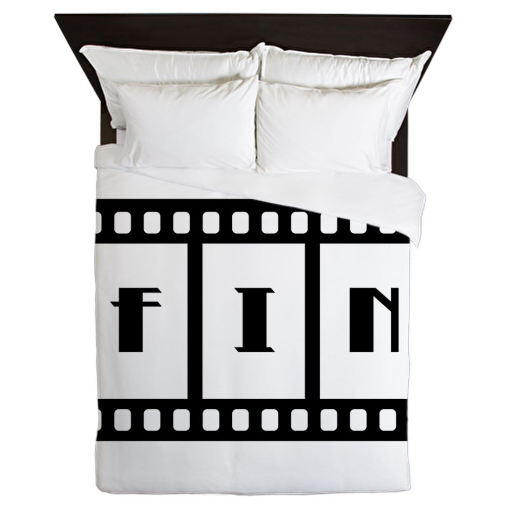 Queen Duvet Cover FIN: Old Hollywood Movie Ending