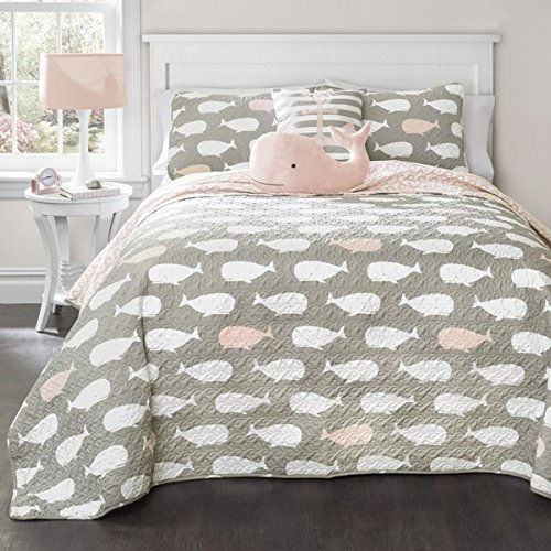 5 Piece Kids Pink White Grey Whales Theme Quilt Full Queen Set, Fun All Over Underwater Animal Bedding, Cute Stylish Geometric Ocean Sea Life Multi Whale Themed Pattern, Light Pale Rose Gray
