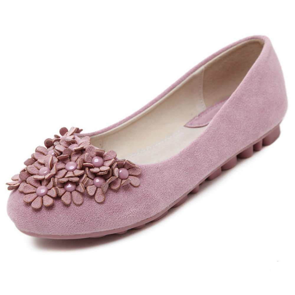 Yuki Womens Fashion Flower Shoes Soft Loafers Ballet Flats Pink US 8