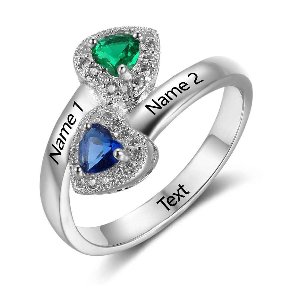 Love Jewelry Personalized Arrow Couple Simulated Birthstones Promise Rings for Her Engraved 2 Names Engagement Ring (8)