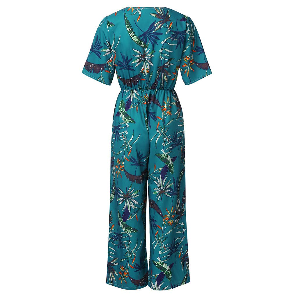 Womens Casual Print Short Sleeve Jumpsuits Wide Leg Long Pants Romper Teresamoon
