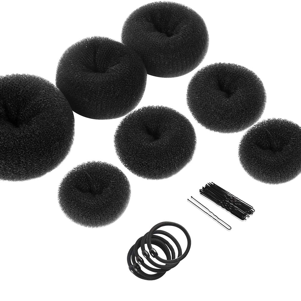 Hair Bun Makers, Teenitor Hair Styling Accessories Kit with 5 Bands& 20 Bobby Pins & 7 Buns for Chignon Hair Styles (2 Small 2 Medium 2 Large 1 Extra-large), Black: Beauty