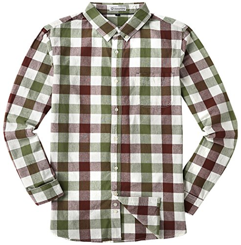 MOCOTONO Men's Long Sleeve Plaid Button Down Cotton Casual Shirts Coffee/Grass Green Large