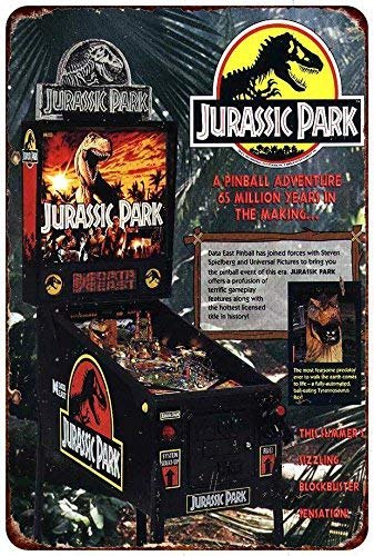 qidushop Jurassic Park Vintage Pinball Machine AD ...