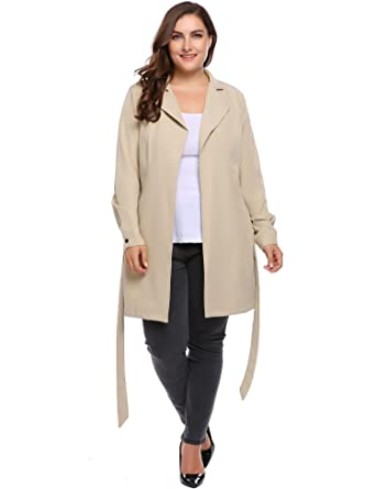 9e9460b21d9 MEANEOR Women s Plus Size Lightweight Open Front Trench Coat Wrap Jacket  Blazer Cardigans With Self-
