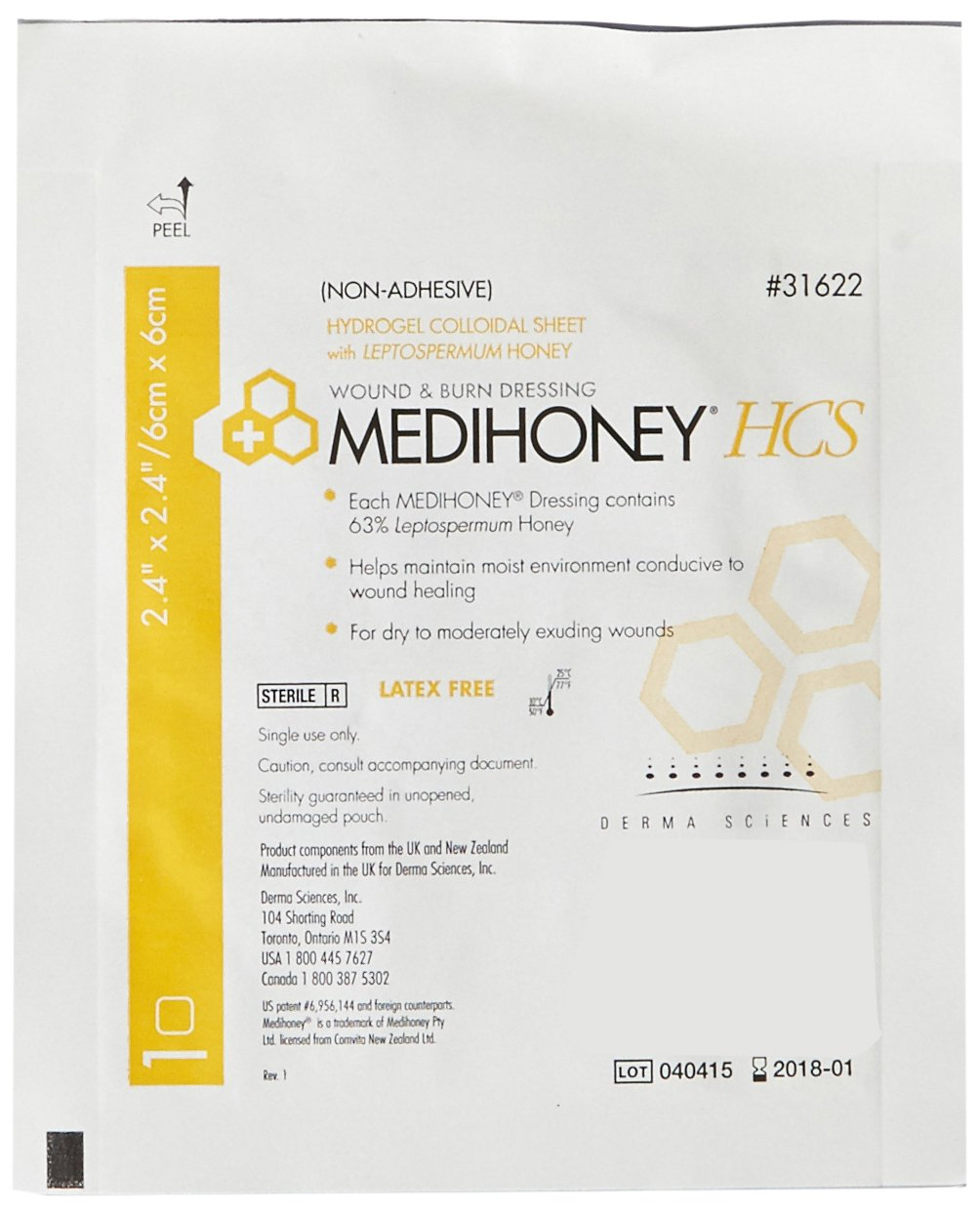 Derma Sciences 31622 Medihoney Dressing Hydrogel Colloidal Sheet, Non-Adhesive, 2.4'' Width x 2.4'' Length (Pack of 10)