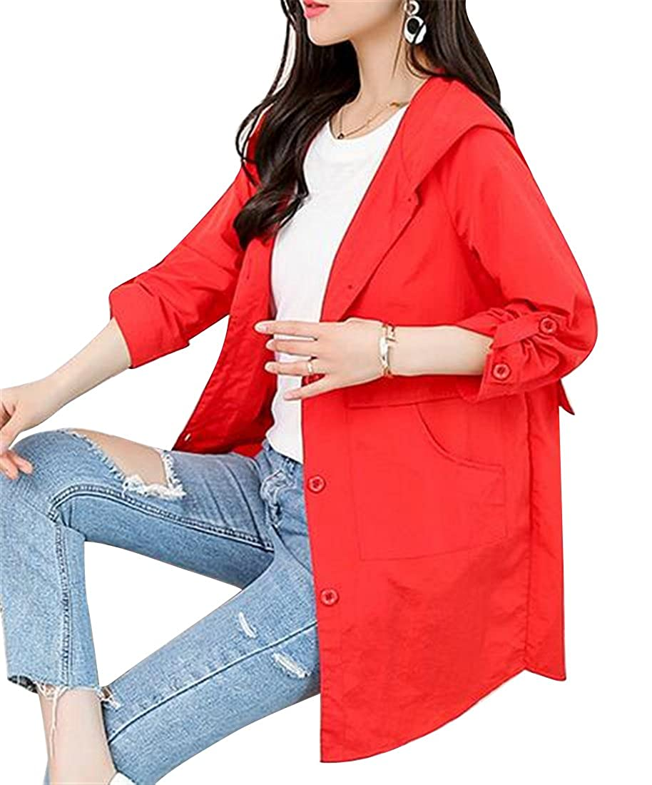 Jofemuho Women Casual Plus Size Hooded Single Breasted Loose Trench Coat Jacket