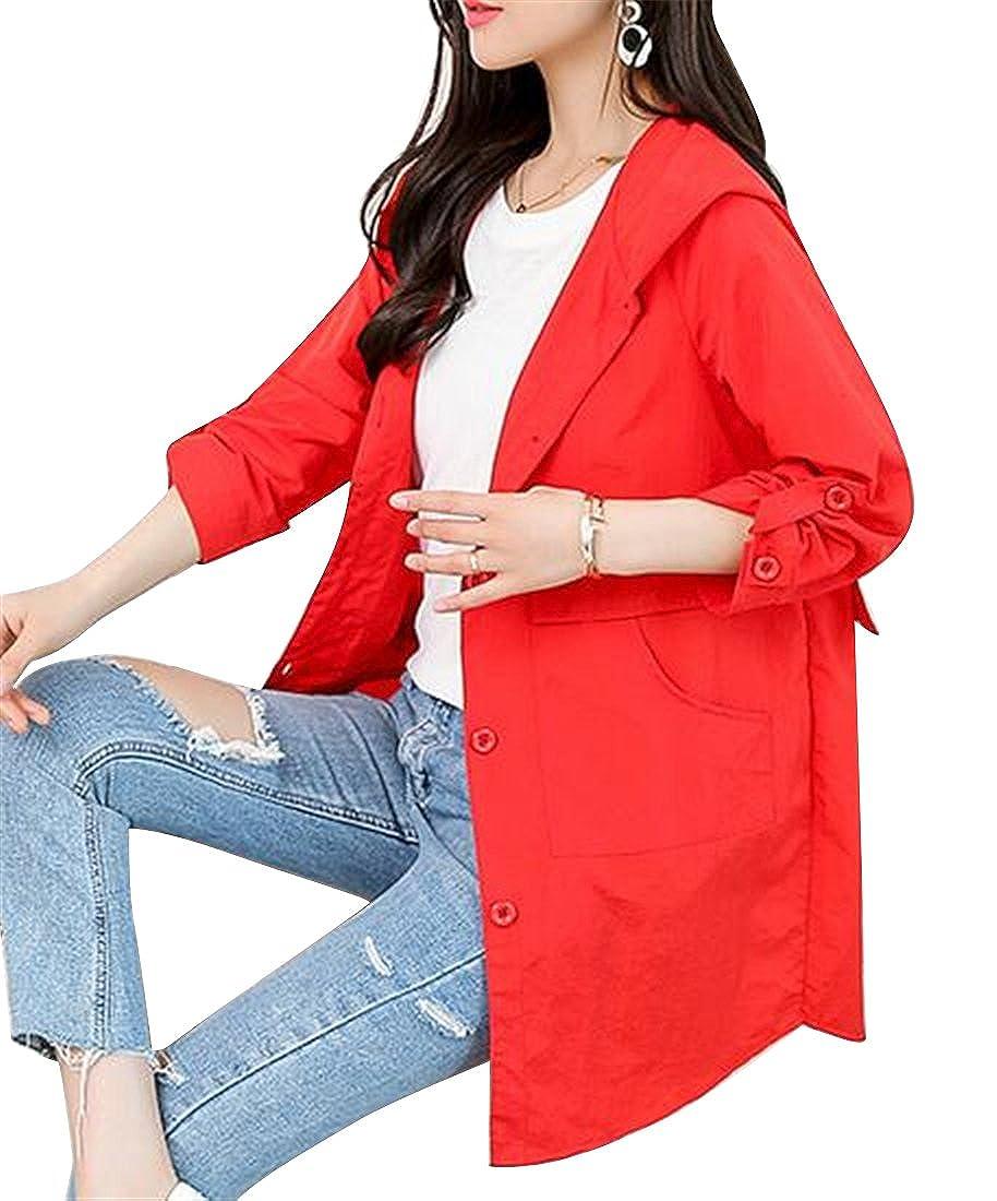 Jofemuho Women Casual Plus Size Hooded Single Breasted Loose Trench Coat Jacket