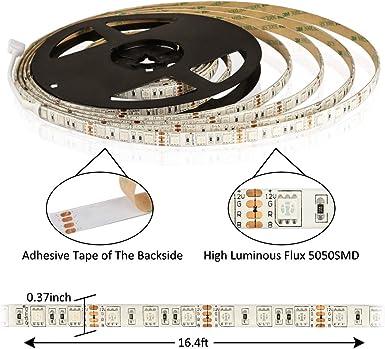 tira led rgb 12V 5M SMD5050 300leds,tiras led IP65 impermeable16 Colores,luces led cinta led Incluido ir remote control controlador 44 y transformador 220v 12v 5A CRI>80: Amazon.es: Iluminación