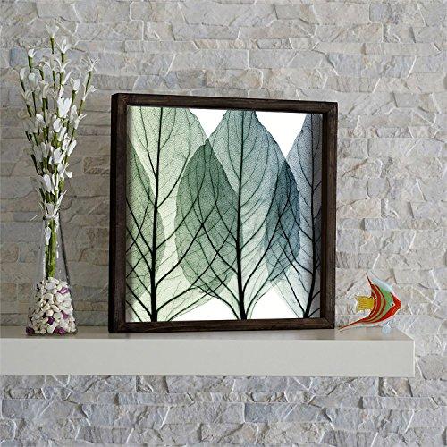 LaModaHome Home Decor 100% Pine Wood Framed Wall Art  Leaf T