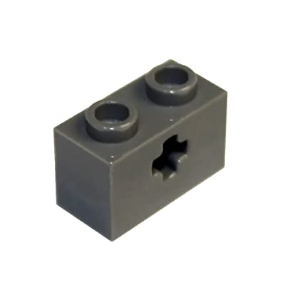 LEGO Parts and Pieces: Technic Dark Gray (Dark Stone Grey) 1x2 Brick with Axle Hole x20: Toys & Games