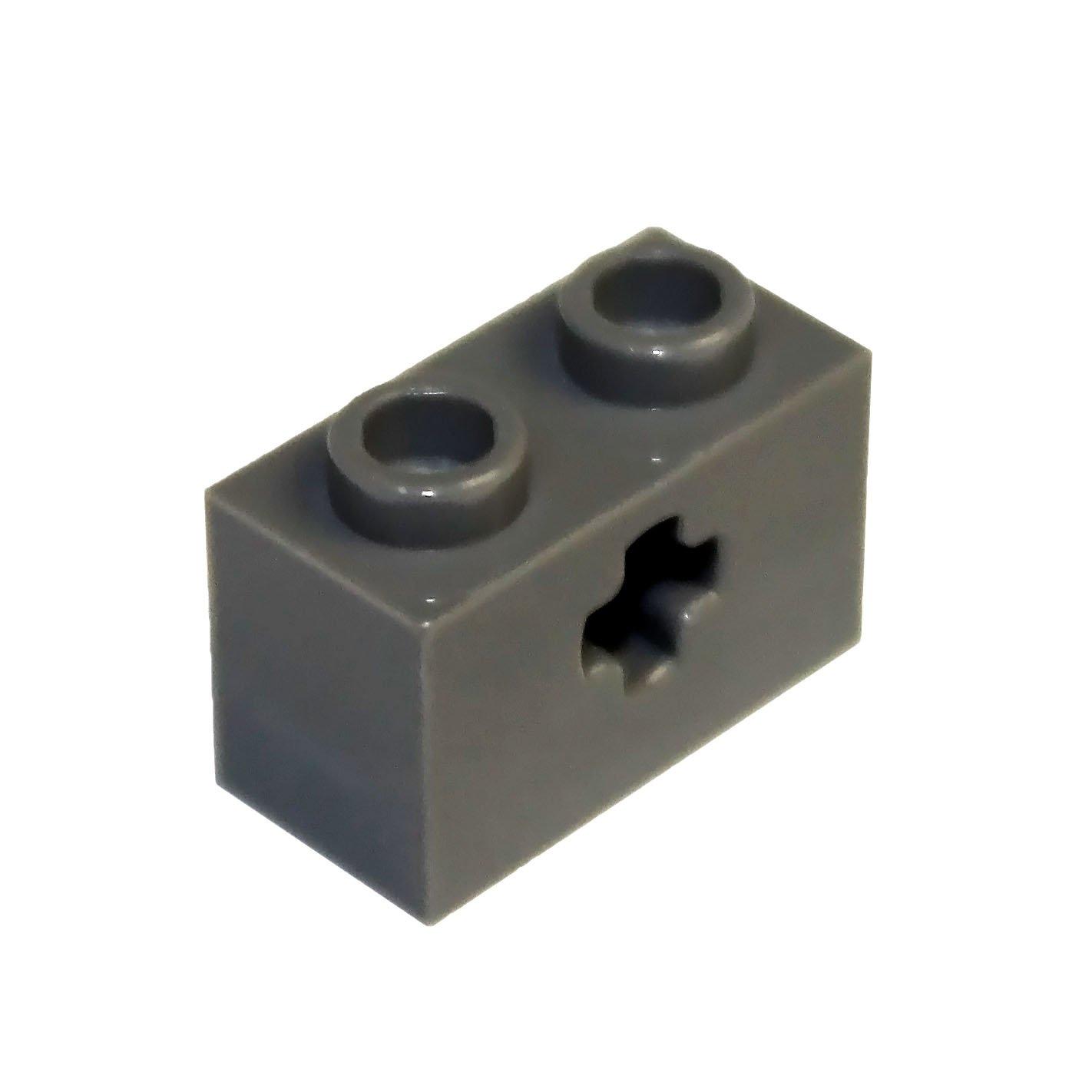 LEGO Lot of 10 Green 1x2 Technic Bricks with Axle Hole