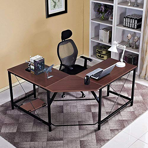 Soges 59 x 59 inches Large L-Shaped Desk Computer Desk L Desk Office Desk Workstation Desk, Walnut CS-ZJ02-WA ()