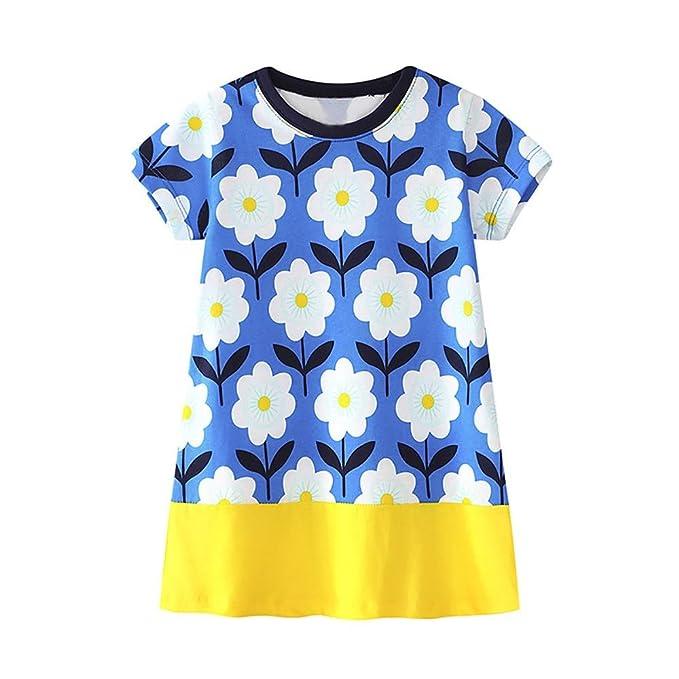 0108c5663f45 Baby Kleidung, erthome Mädchen Blumenmuster Kleid Top Summer Strandkleid  Baby Gift (Blau, 12