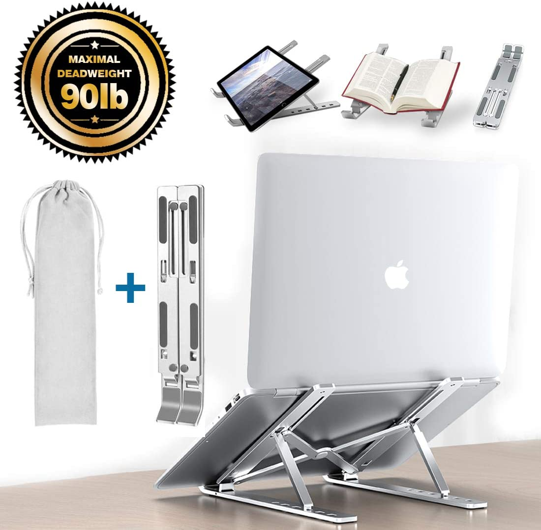 Adjustable Laptop Stand Aluminum Alloy Tablet Stand|adjustable Angle And Height| Maximum Load 90ib| Easy To Carry| For Macbook Air Pro, Dell Xps, More 10-15.6 Inches Pc Computer, Tablet, Ipad (Silver)
