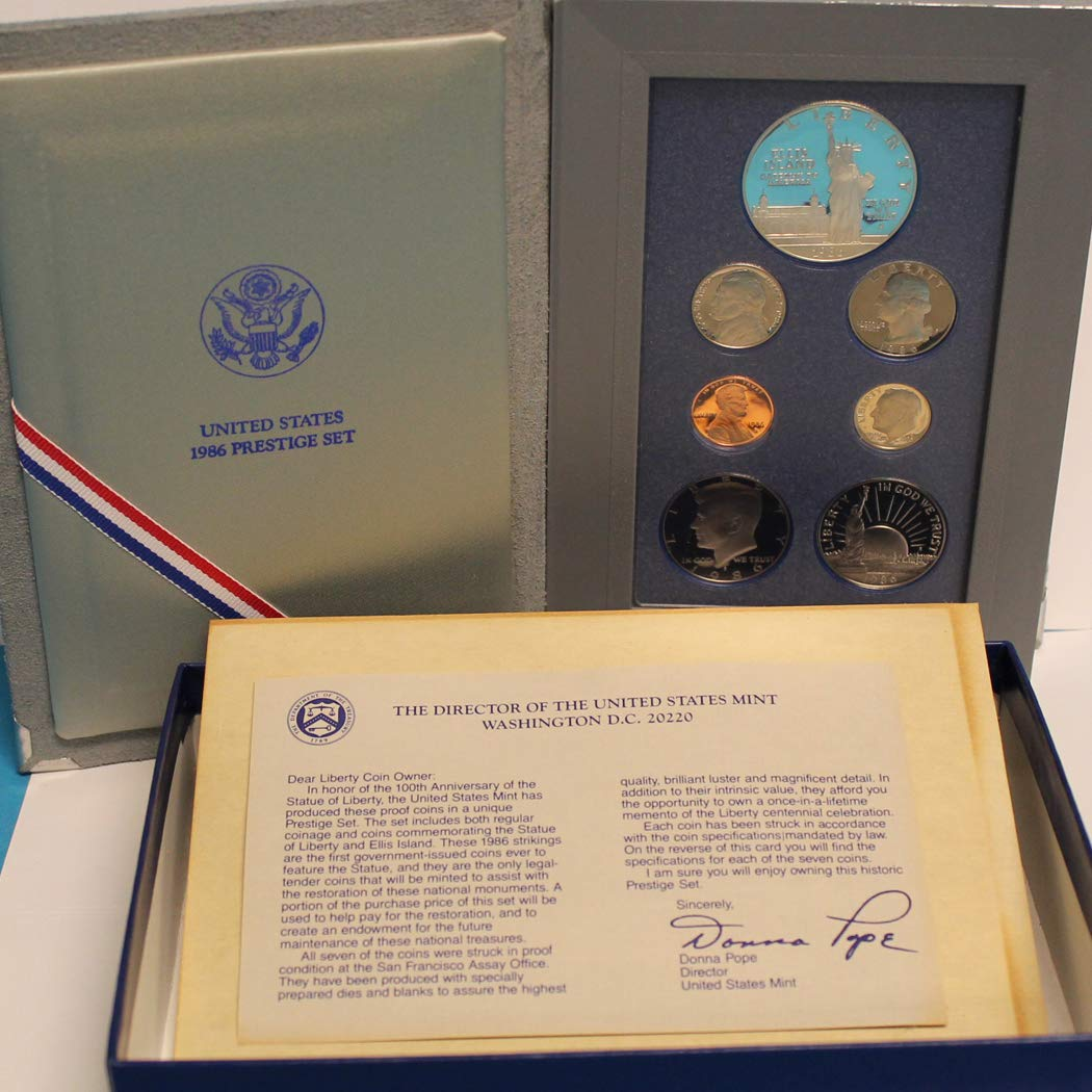 1986 Statue of Liberty Prestige Proof Coin Set United States Mint