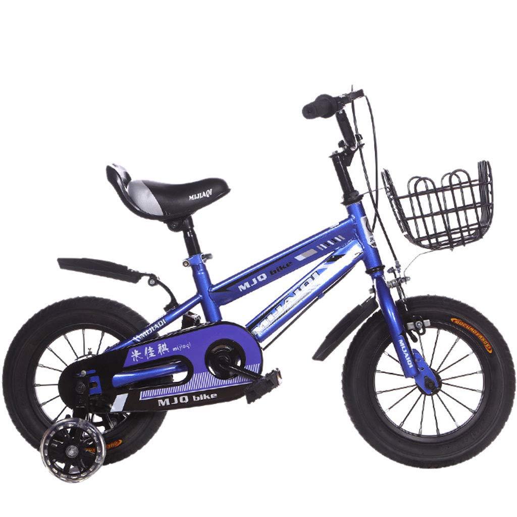 子供用自転車2-4-6-7-8-9歳子供用自転車ベビーカー男の子女の子自転車付トレーニングホイール子供用自転車 14in Blue B B07PBMJ68M