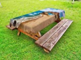 Ambesonne Landscape Outdoor Tablecloth, Ocean View Tranquil Beach Cabo De Gata Spain Coastal Photo Scenic Summer Scenery, Decorative Washable Picnic Table Cloth, 58 X 104 Inches, Blue Brown