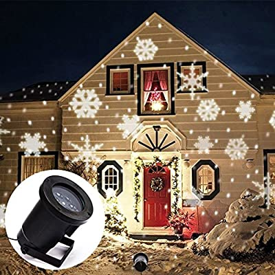 Projector Light Moving White Snowflakes Spotlight Lamp, Sparkling Landscape Projection LED Lights Waterproof Indoor Outdoor for Christmas Holiday Garden Home Wall Decoration