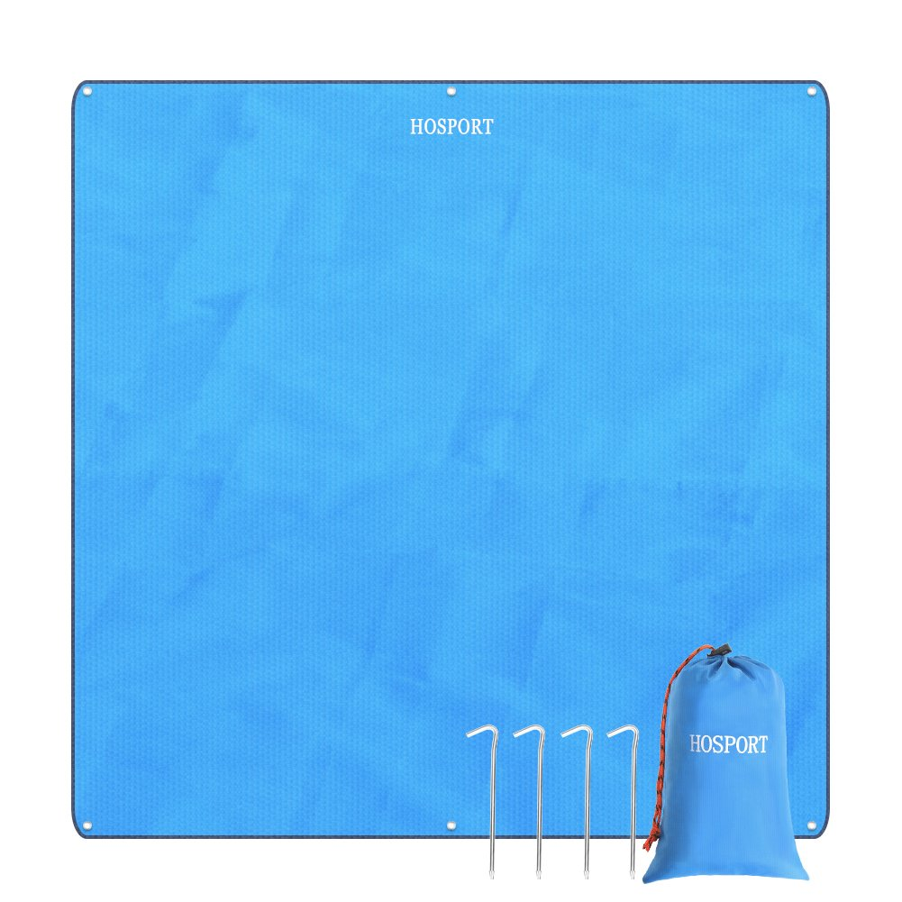 HOSPORT Beach Blanket Oxford Waterproof Picnic Blanket - 84.6'' x 84.6'' For 4 People-Portable Sandproof Blanket for Picnic,Beach,Hiking,Camping and Park etc(Blue)