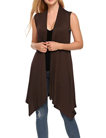 afedd912cb99ae Zeagoo Women s Casual Solid Sleeveless Asymetric Hem Open Front Cardigan  Top Brown S