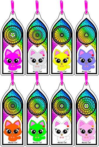 Cute Kawaii School Supplies Kitty Cat 8 Pcs Laminated Bookmarks for Women -