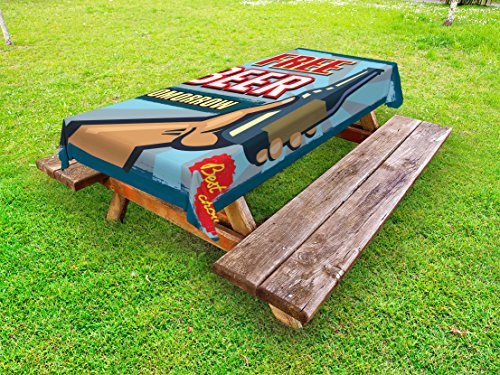 Lunarable Vintage Outdoor Tablecloth, Arm Holding Bottle with Free Beer Quote Beverage Pub Offer Sale Fun Murky Design, Decorative Washable Picnic Table Cloth, 58 X 120 Inches, Multicolor