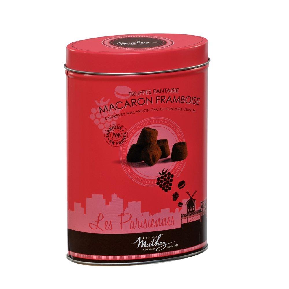Mathez 'Les Parisiennes', French Chocolate Truffles with Raspberry Macaron Chips, 7.1oz Tin