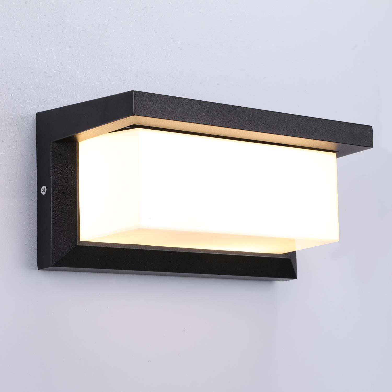 Lightess Apliques de Pared Exterior LED 12W Lámpara de Pared Impermeable IP65 Luz de Aluminio Iluminación para Balcón, Jardín, Porche, Camino, Patio, Negro (blanco cálido)