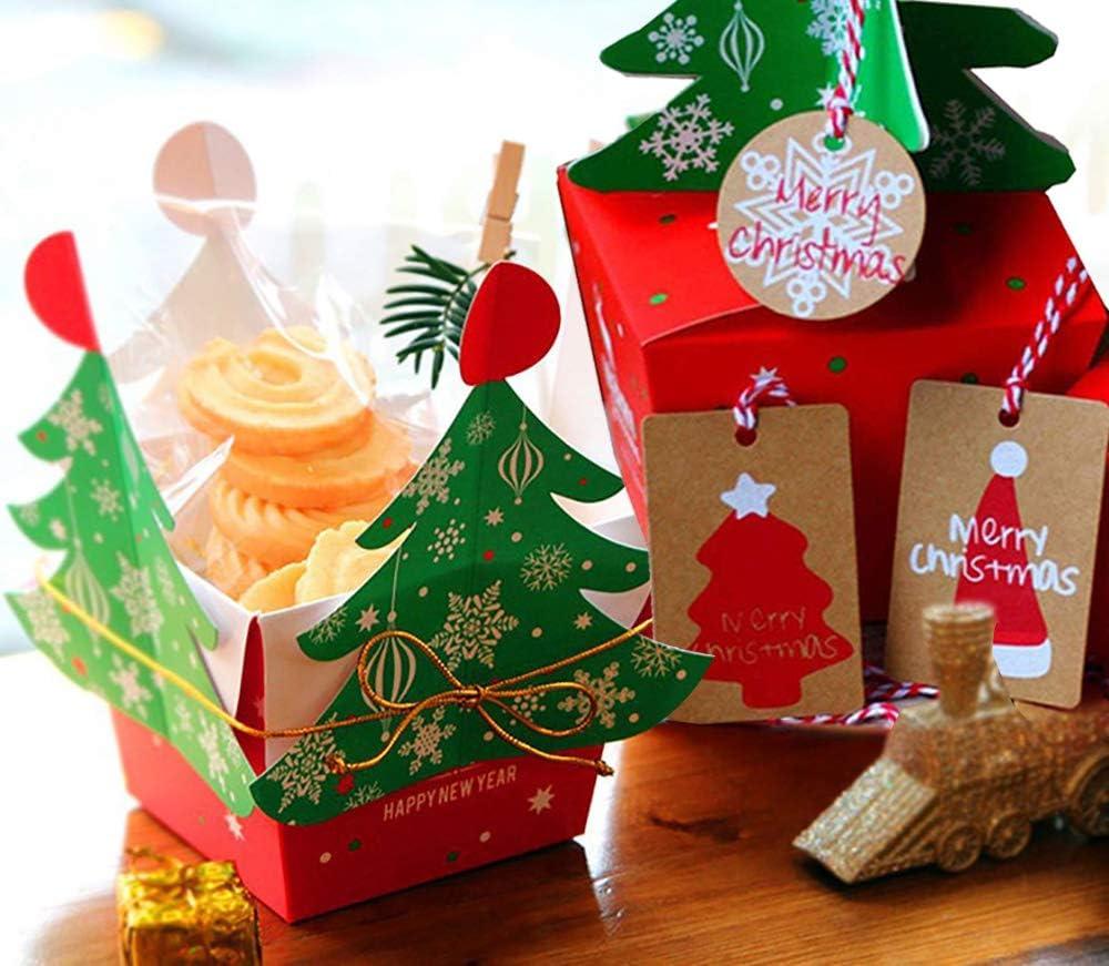 Kungfu Mall - Papel de regalo para Navidad, 10 unidades de caja de árbol de Navidad y 1 juego de etiquetas de regalo de papel kraft vintage para Navidad: Amazon.es: Hogar