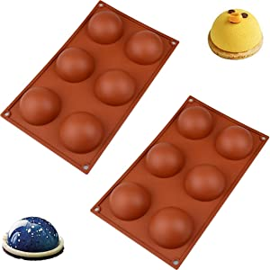 Silicone Mold for Chocolate, 6 Holes Semi Sphere Silicone Molds for Making Hot Chocolate Bomb, Baking, Cake, Jelly Dome Mousse, Pudding (2 PACKS)