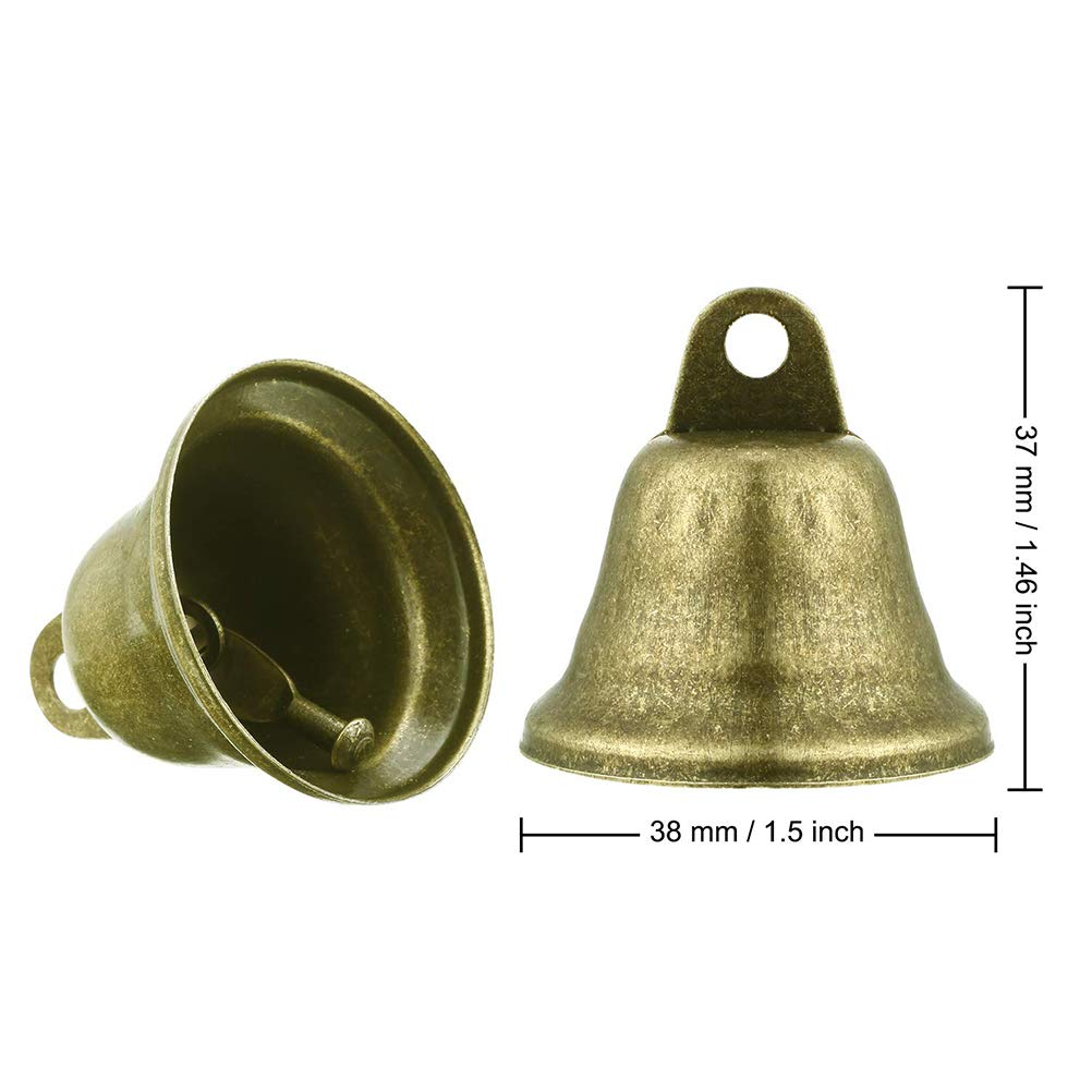 KENANLAN 40 Pcs Christmas Bronze Jingle Bells,Christmas Bell for Dog Training Wind Making Crafts Decoration