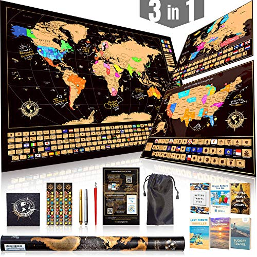- Scratch Off Map Ultimate Pack (World, USA, and Europe) | 3 Top-Quality Scratch-Off Maps with 5 Tools and 6 Ebooks | The Most Complete Travel Tracker Poster Set by Shiny Journey
