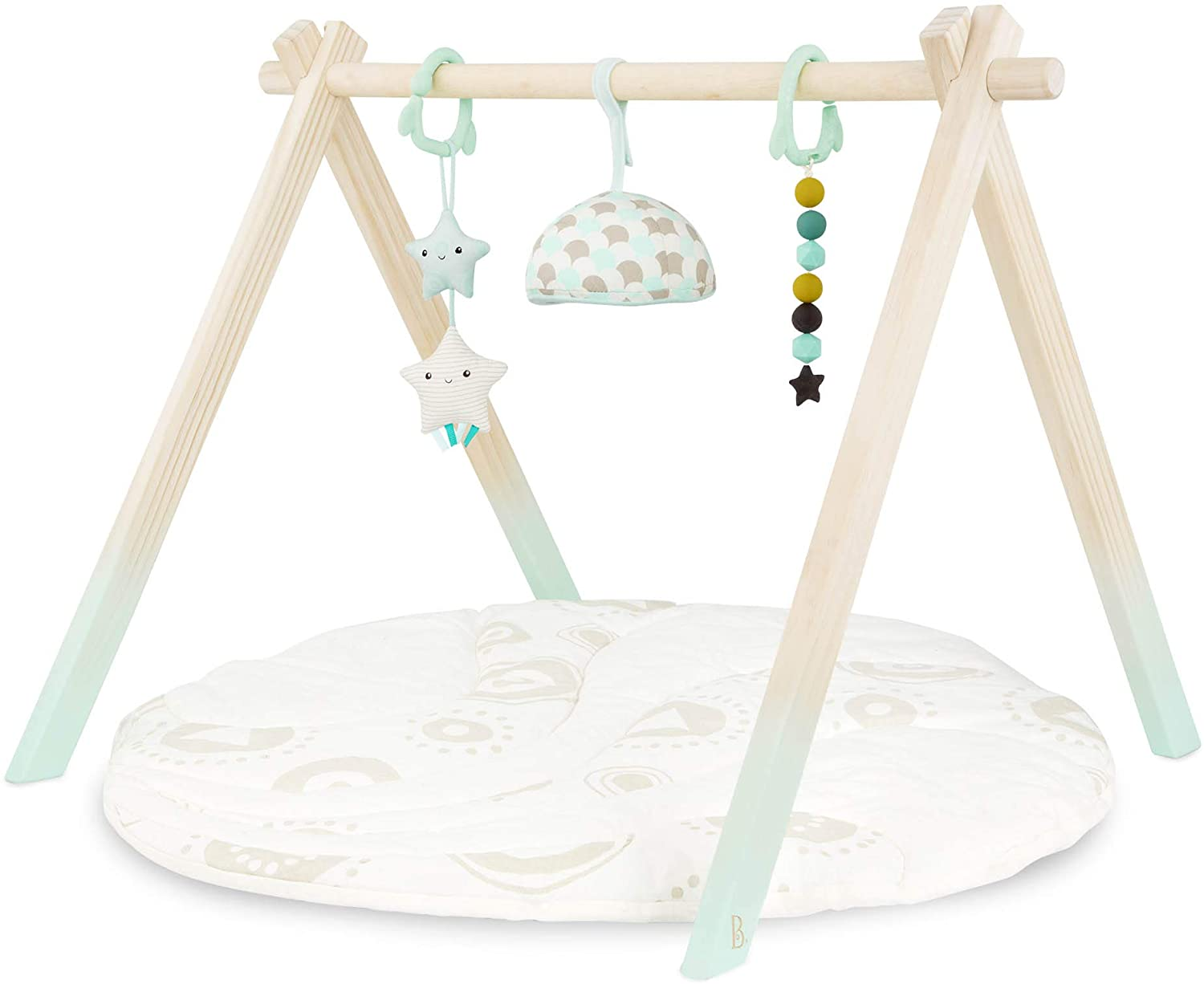 B. Toys Wooden Baby Play Gym Activity Mat Starry Sky 3 Hanging Sensory Toys Organic Cotton Natural Wood Babies, Infants