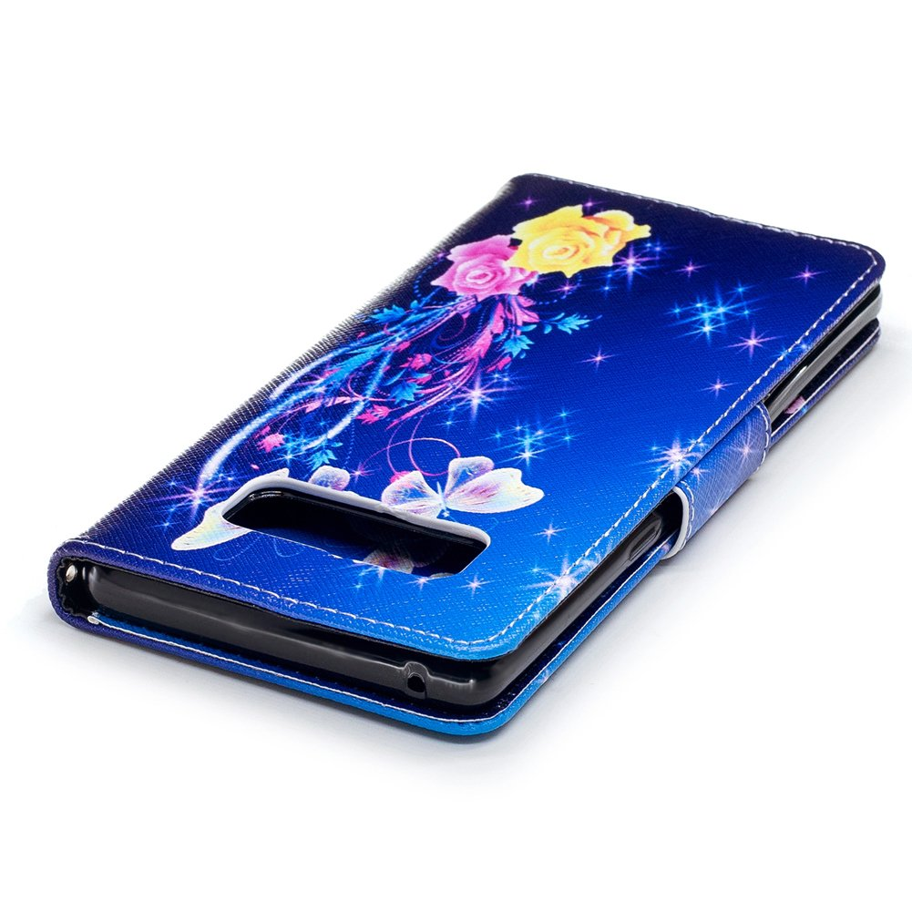 Galaxy Note 8 Case,Note 8 Case with Stylus Pen,Qbily Floral Butterfly Luxury Glitter Bling Leather Flip Kickstand Cover Wallet Case [Card Slots Holder/Magnet] Cute Girls Women Protective Case Blue by Qbily (Image #8)