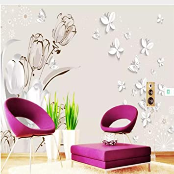 Zjxxm Custom 3d Non Woven P Wallpaper Children Modern Tulip 3d Stereo Butterfly Tv Background Wall Wallpaper For Kids Room Girls 350cmx280cm Amazon Com