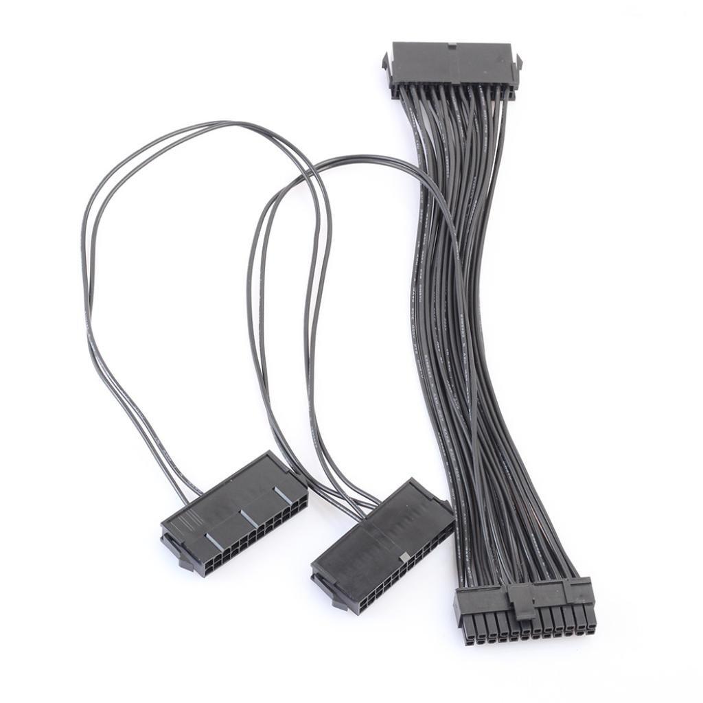 Adaptador de Extensión Conector Cable, Y563Puerto PSU 24Pin ATX Fuente de alimentación 20+ 4pines Placa base Adaptador Conector Cable