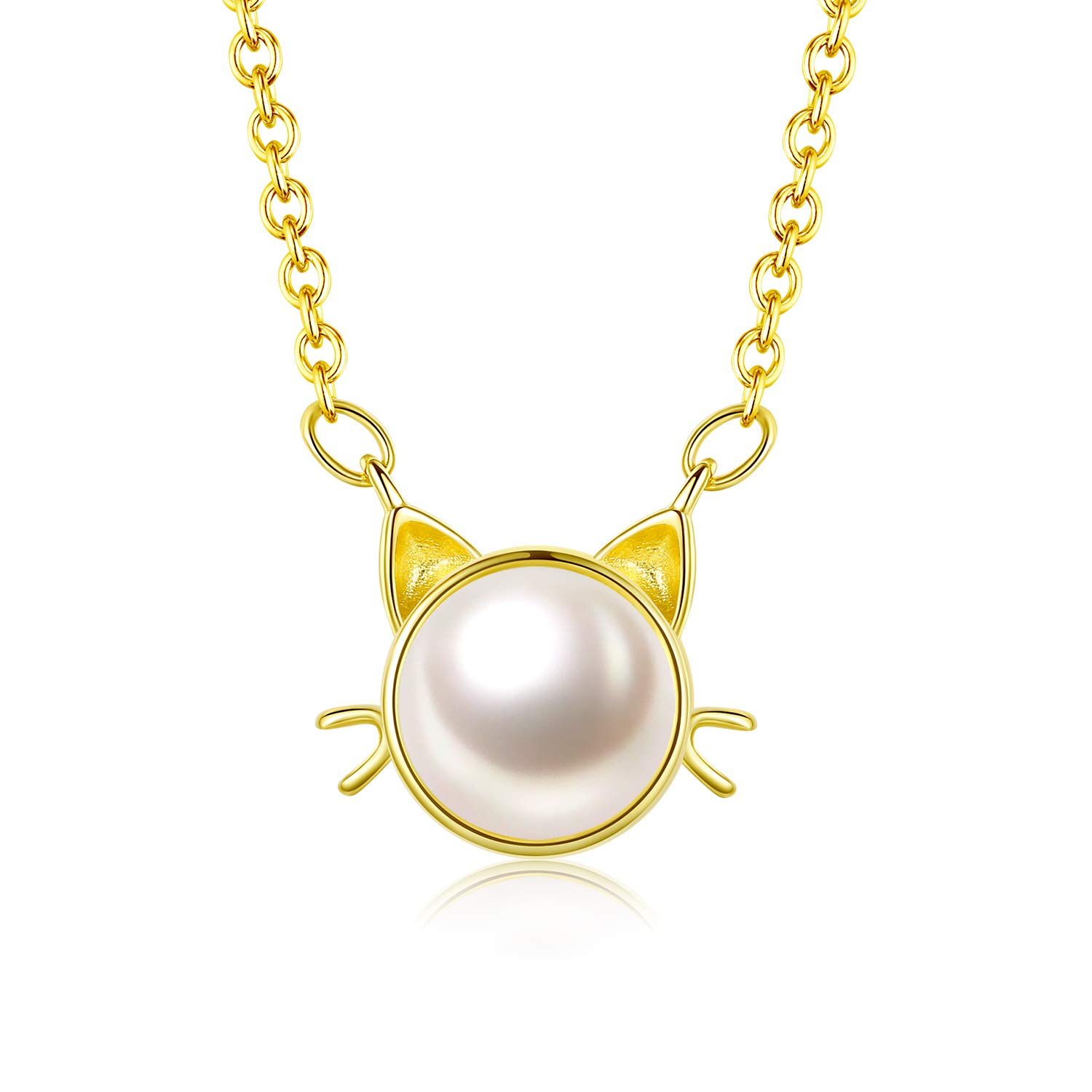"Gold Plated Sterling Silver Freshwater Cultured Pearl Cat Pendant Necklace for Women Girls- 16"" with 2"" Extender Chain"