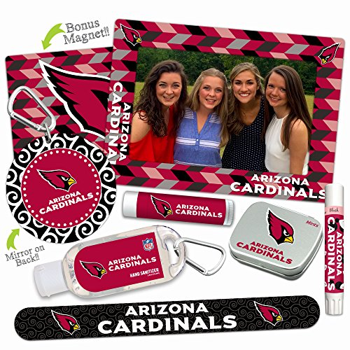 Arizona Cardinals Deluxe Variety Set with Nail File, Mint Tin, Mini Mirror, Magnet Frame, Lip Shimmer, Lip Balm, Sanitizer. NFL gifts for women Mother's Day, Stocking Stuffers
