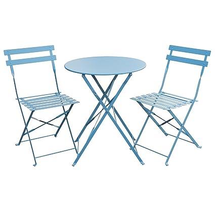 Svita Bistro Set 3 Teilig Gartenset Garnitur Metall Möbel Stuhl
